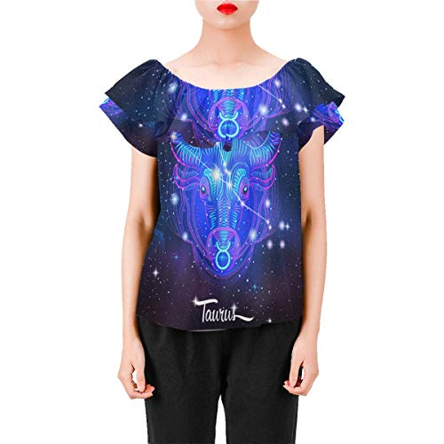 Constellation Zodiac Sign Taurus Women's A-Line Chiffon Blouse Shirt Tops