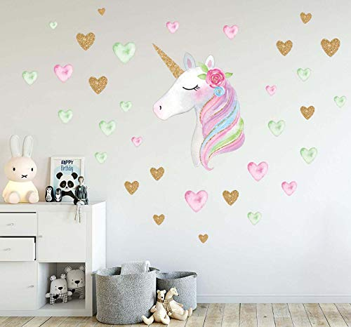 Unicorn Wall Decor Stickers Birthday Gifts for Girls Kids Bedroom Decor Nursery Room Decor Home Party Favors ()