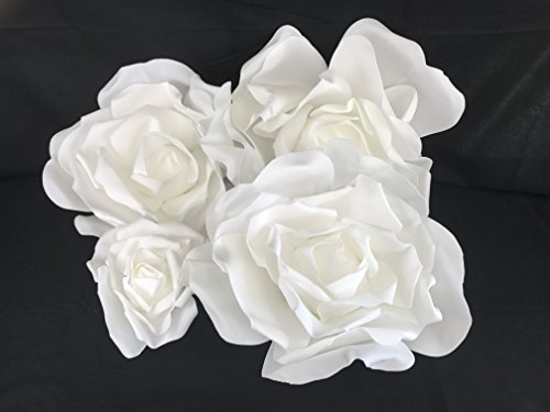 (Set of 4 Classic Elegant Giant Foam Flowers(Floating). Real Touch 3D Artificial Roses. Wedding Backdrop, Photo-Booth, Backdrop, Nursery, Wall, Archway, Home Decoration Centerpiece)