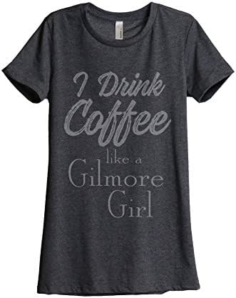 Thread Tank Drink Coffee Gilmore Girls Women's Fashion Relaxed T-Shirt Tee Charcoal Grey