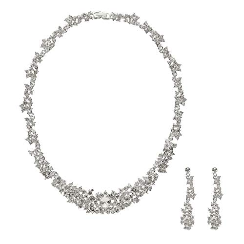 Metme Rhinestone Crystal Necklace and Earrings Wedding Jewelry Set Gifts Prom Accessories by Metme