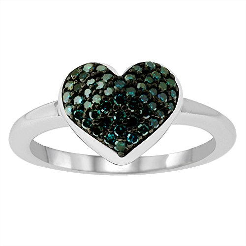 1/4CTTW Blue Round Diamonds Heart Shape in Sterling Ring