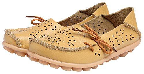 WENN FÜHLEN Frauen Flats Leder Driving Loafer Schuhe Gelb-3