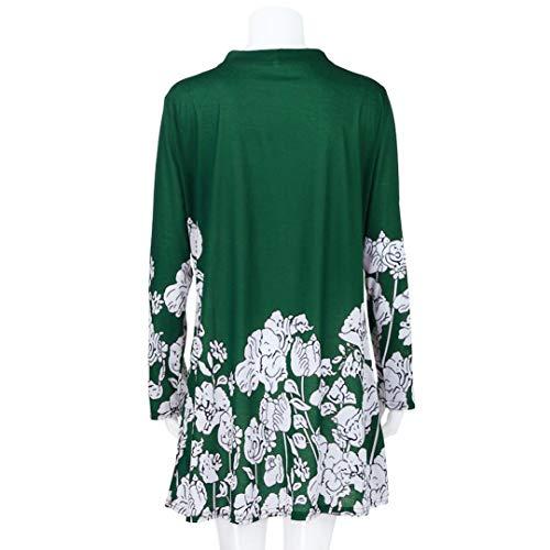 Blouse Fashion Longue Longues Hiver Neck Innerternet Taille Bouton Vert La Femmes Chemisier Print Automne V Manches Floral Plus P0PapqzX