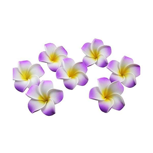 Ewandastore 100 Pcs Diameter 2.4 Inch Artificial Plumeria Rubra Hawaiian Foam Frangipani Flower Petals for Weddings Party Decoration(Purple)
