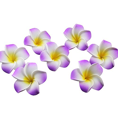 Ewandastore 100 Pcs Diameter 1.6 Inch Artificial Plumeria Rubra Hawaiian Foam Frangipani Flower Petals for Weddings Party Decoration(Purple)