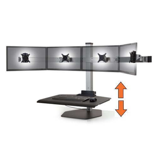 Stand Steady Winston Workstation Quad Monitor Mount Sit-Stand Desk (Innovative WNST-4)   Four Monitor Standing Desk Workstation Converter with VESA Mount  Easy & Height Adjustable! (4 Monitor/Silver)