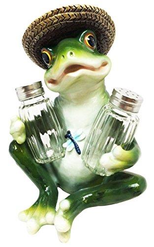 Toad Sculpture - KITCHEN PICNIC GREEN FROG TOAD SALT PEPPER SHAKER HOLDER FIGURINE SCULPTURE