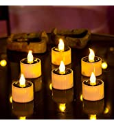 6 Pieces Solar Lantern Tea Lights Candles - Rechargeable Flickering Electronic Solar LED Lamp Nig...
