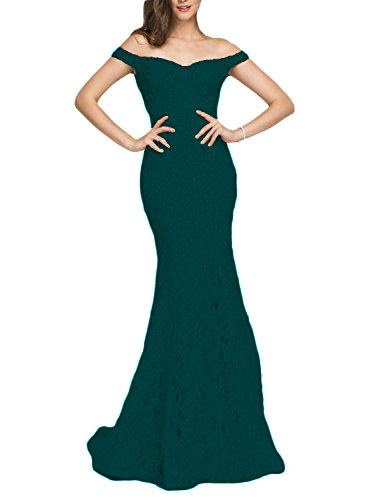 YSMei Women's Off Shoulder Beads Evening Celebrity Dress Long Mermaid Formal Gown Teal ()
