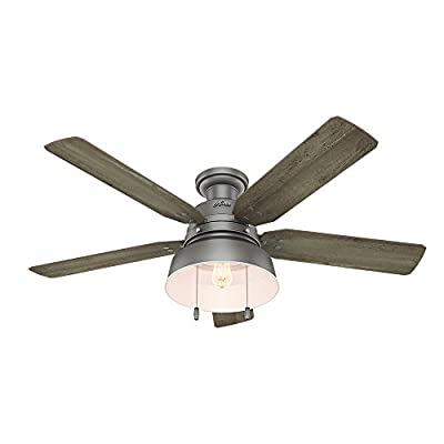"Hunter 59311 Mill Valley 52"" Ceiling Fan with Light, Large, Matte Silver"