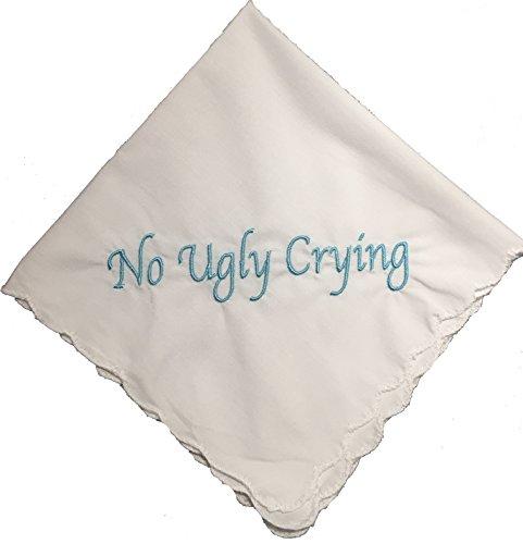 Embroidered Wedding Handkerchief (Perfect Bridesmaid Gift No Ugly Crying Wedding Handkerchief embroidered set of 8 (Light Blue))