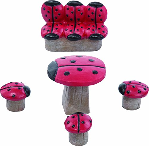 Transpac Imports, Inc. Miniature Lady Bug Spotted Garden Fairy Furniture 3 inch Resin Decoration Set of 5 ()