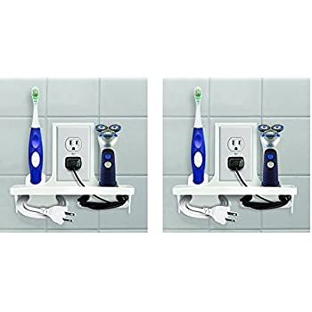 Wall Outlet Organizer Stores Organizes Electric Toothbrush Charges Phone