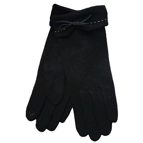 HiCollie 手袋 ニット レディース グローブ かわいいリボン ハート スマートフォン対応 防寒 アウトドア バイク 通勤