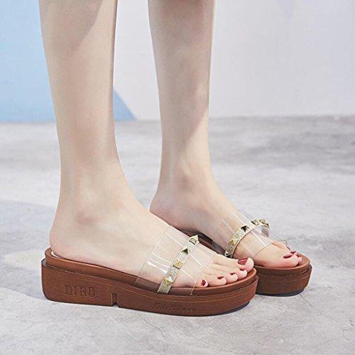 Flop Beige Muffin Fond De Sandales Mid Heel EU36 Or Sandales Plage UK4 Extérieure Chaussures Mode Couleur Chaussures Xy® Épais D'été Flip Taille Lounger Femme CN36 EwHxwapq