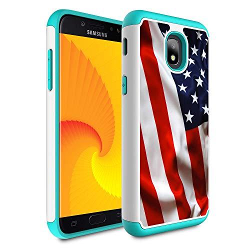 Galaxy j3 2018/J3 Achieve/Express Prime 3/j3 Star/J3 V 3rd Gen 2018/j3 Orbit case,Skyfree Heavy Duty Dual Layer Bumper Protective Phone Case for Samsung Galaxy J3 2018,American USA ()