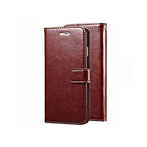 MG Star Flip Cover Realme 8 PU Leather Vintage Case with Card Holder and Magnetic Stand-(Brown)(Shockproof)