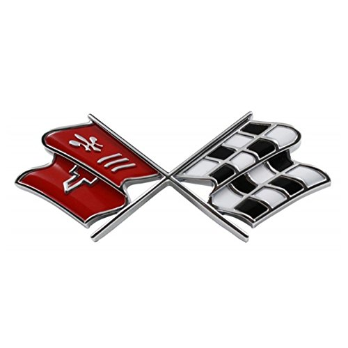 - Eckler's Premier Quality Products 25-120292 1968L- Corvette Gas Door Emblem Crossed-Flags With Correct Red Inlay Show Correct