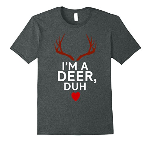 Simple Costumes For College Students (Mens Funny Deer Christmas Costume Family Gift T-Shirts XL Dark Heather)
