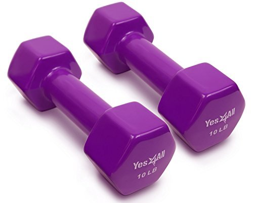 Purple Weight - Yes4All Vinyl Coated Dumbbells – PVC Hand Weights for Total Body Workout (Set of 2, Purple, 10 lbs)