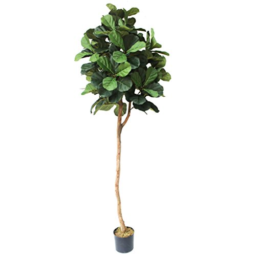 7' Fiddle Leaf Fig Ball-Shaped Topiary Silk Tree w/Pot -Green