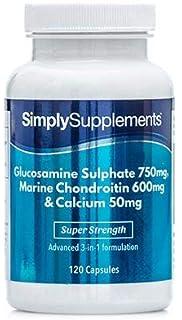 Glucosamina 750 mg, Condroitina 600 mg y Calcio - 240 cápsulas (2 frascos de