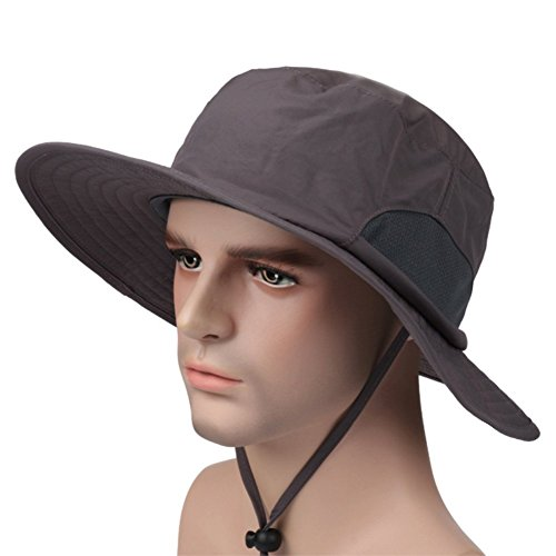 Puli Waterproof Foldable Mesh Panel Outdoor Wide Brim Fishing Boonie Sun Hat uv Protection,Dark (Big Head Hat)