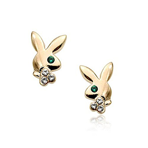 Simple Playboy Rabbit Bunny Logo Stud Earrings Fashion Jewelry for Women (Gold Plated) (Playboy Rabbit Rhinestone)