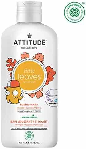 ATTITUDE Little Leaves Hypoallergenic and Natural Bubble Wash, Mango, 16 Fl Oz
