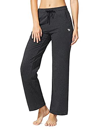 Baleaf Women's Activewear Drawcord Yoga Lounge Pants with Pockets Charcoal Size S