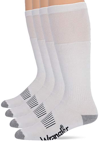 Wrangler Men's Wellington Cushion Smooth Toe Work Boot Socks 4 Pair Pack, White/Grey, Large