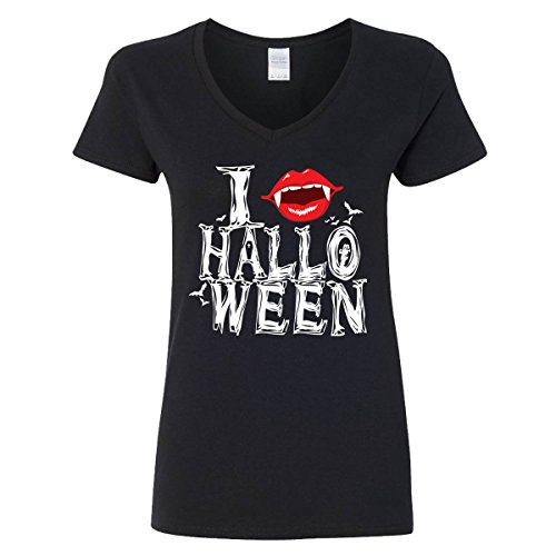 I Love Halloween V-Neck T-Shirts for Women
