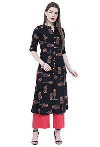 - Lagi Women Designer Straight A-Line Kurta Kurtis top Tunic Dresses Polly Silk Rayon Cotton Kurtis Kurta (L, Black (UG17C))