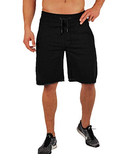 Gopune Men's Gym Workout Running Short Training Bodybuilding Jogger with Pockets (Black,M) (Training Short Relaxed)