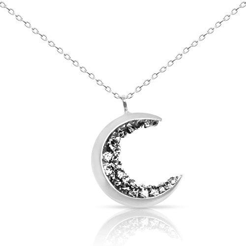 ONDAISY 14K Rhodium Plated Black Cz Gypsy Planet Half Crescent Sailor Luna Moon Pendant Charm Chain (Crystal Moon Necklace)