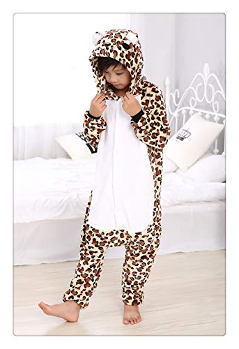 Winter Children Party Costumes for Kids Funny Onesies Cartoon Sleepwear Winter Warm One Piece Soft Animal Pajamas Leopard L ()