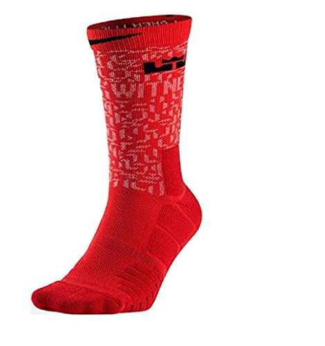 Nike Youth's Dri-Fit Lebron Elite Quick Basketball Crew Socks University Red/White/Black SX5833 657 Small (Youth 3Y-5Y)
