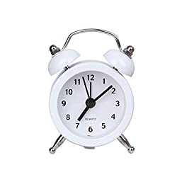 Slowslient Mini Non-ticking Vintage Classic Bedside/Table Alarm Clock with Backlight, Battery Operated Travel Clock, Round Twin Bell Loud Alarm Clock (White)