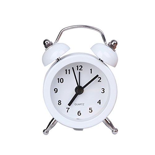 Alarm Round Clock (Slowslient Mini Non-ticking Vintage Classic Bedside/Table Alarm Clock with Backlight, Battery Operated Travel Clock, Round Twin Bell Loud Alarm Clock (White))
