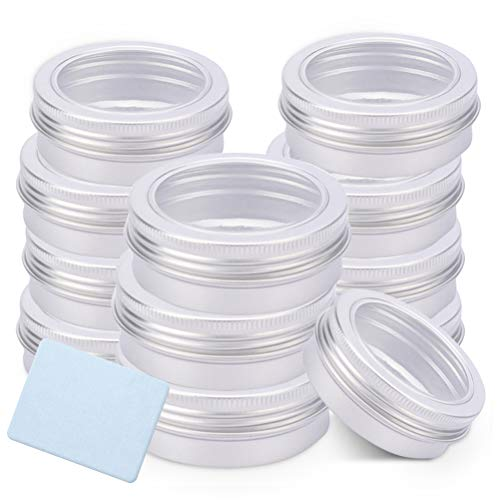 (2 oz Tin Cans Round Vankcp 12PCS Tin Storage Jar Containers with Fiber Cloth for Kitchen, Office, Candies)