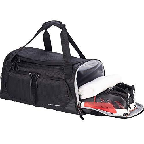 "Gym Bag, Sports Duffle with Shoes Compartment & Wet Pocket & Water Resistance Pouch, Men Women, 35L (20""), Black"