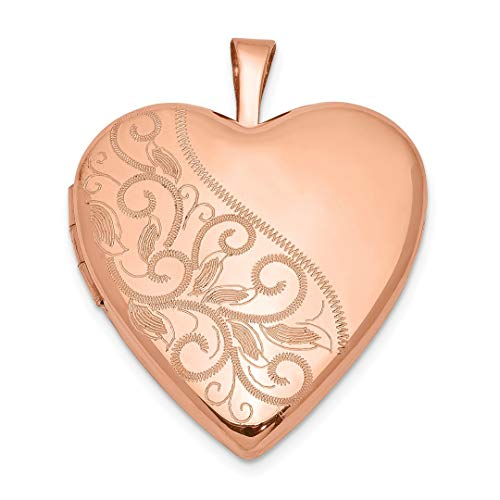 Silver 20mm Rose Leaf Pendants - 925 Sterling Silver Rose Gold Plated 20mm Swirl Heart Photo Pendant Charm Locket Chain Necklace That Holds Pictures Animal Fine Jewelry For Women Gift Set