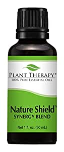 Plant Therapy Nature Shield Synergy Essential Oil Blend. Blend Of: Citronella, Eucalyptus, Cedarwood, Lemongrass, Lavender, Litsea, Tea Tree, Patchouli and Catnip. 30 ml (1 oz).