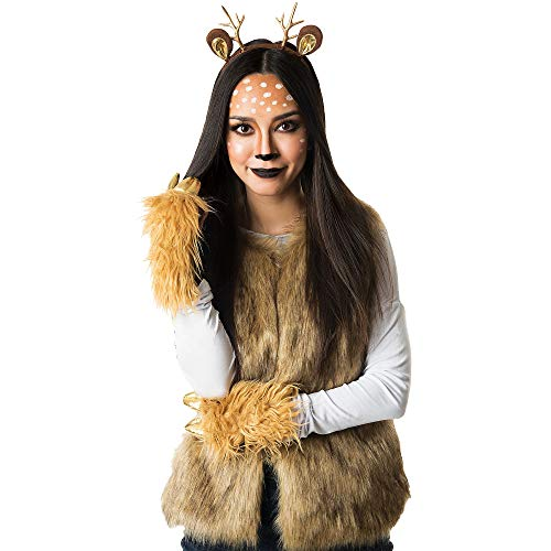 M&J Trimmings Papillion Accessories Deer Halloween Costume Accessory Kit for Women, 3 Pieces ()