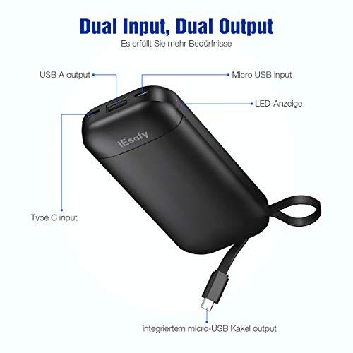 IEsafy Externer Akku 10000mAh Powerbank Klein mit integriertem tragbaren Micro-USB-Kabel Ladegerät als Portable Charger für Xiaomi, Redmi, Samsung, Huawei und mehr Smartphone