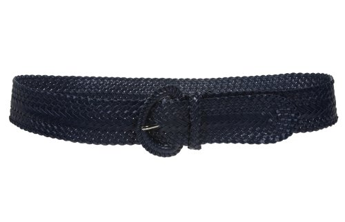 Handmade Woven Belt - 2 Inch Wide Hand Made Soft Metallic Woven Braided Round Belt, Navy | l/xl-38