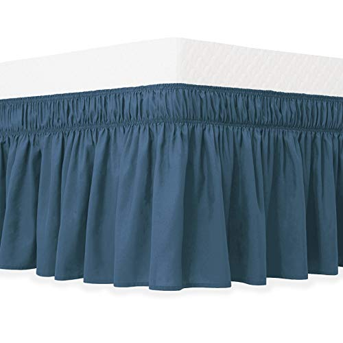 - Guken Wrap Around Bed Skirt, Elastic Soft Bed Ruffle, Easy On and Easy Off, Wrinkle and Fade Resistant Solid Color Hotel Quality Fabric with 15 Inch Drop(Navy,King)
