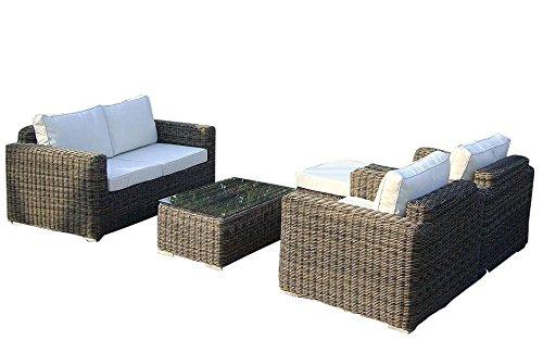 Baidani Gartenmöbel-Sets 10c00043 Designer Lounge-Garnitur Present, Hocker, Sessel, 1 Couch-Tisch mit Glasplatte, braun