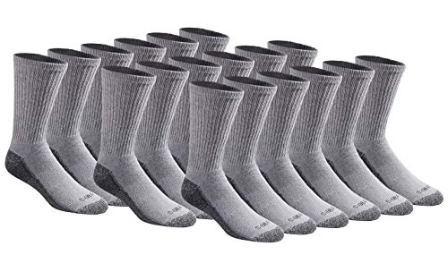 Superior Uniform Unisex Polyester - Dickies Men's Multi-Pack Dri-Tech Moisture Control Crew Socks, Gray (18 Pair), Shoe Size: 6-12